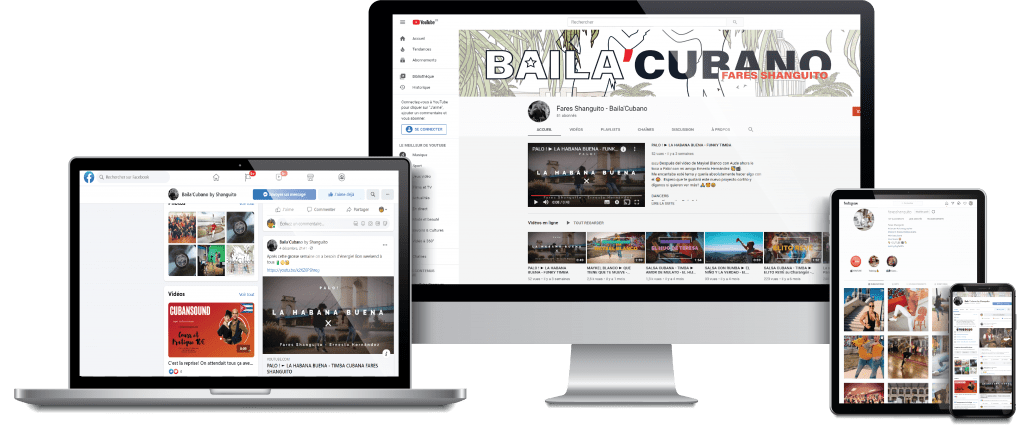 MOCKUP DEVICE BAILACUBANO SOCIAL NETWORK YOUTUBE
